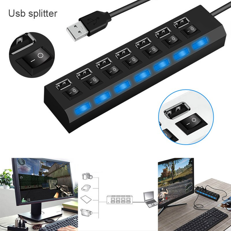 Divisor de 4 puertos/divisor de 7 puertos Hub Usb Splitter ordenador portátil Mouse teclado adaptador OTG PUO88