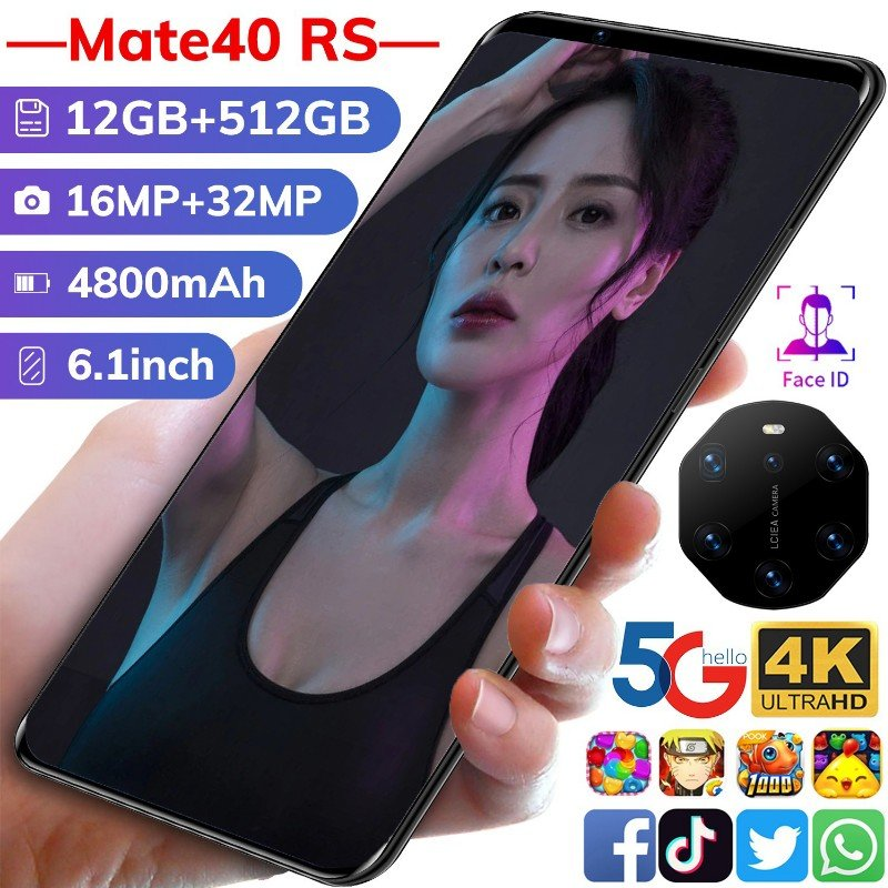 2021 New Huavei Mate40 RS Global Version Smartphone 16G 512G Android10 Face ID Finger Print  6800mAh