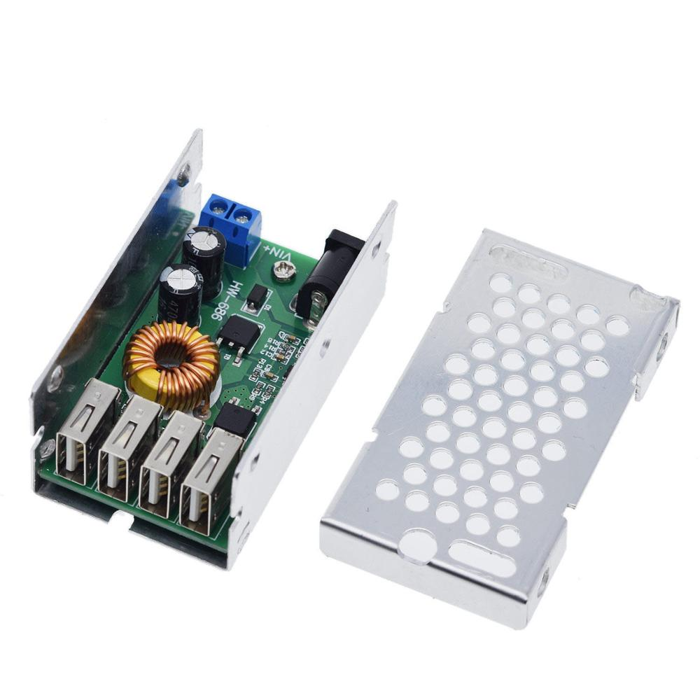 15w adjustable usb 5v to 3 3v 9v 12v 24v 30v step up down power supply module adjustable buck converter DC-DC 9V 12V 24V 36V To 5V Step Down Board 5A 4 USB Output Buck Converter Power Supply Module with Aluminum Shell For Cars