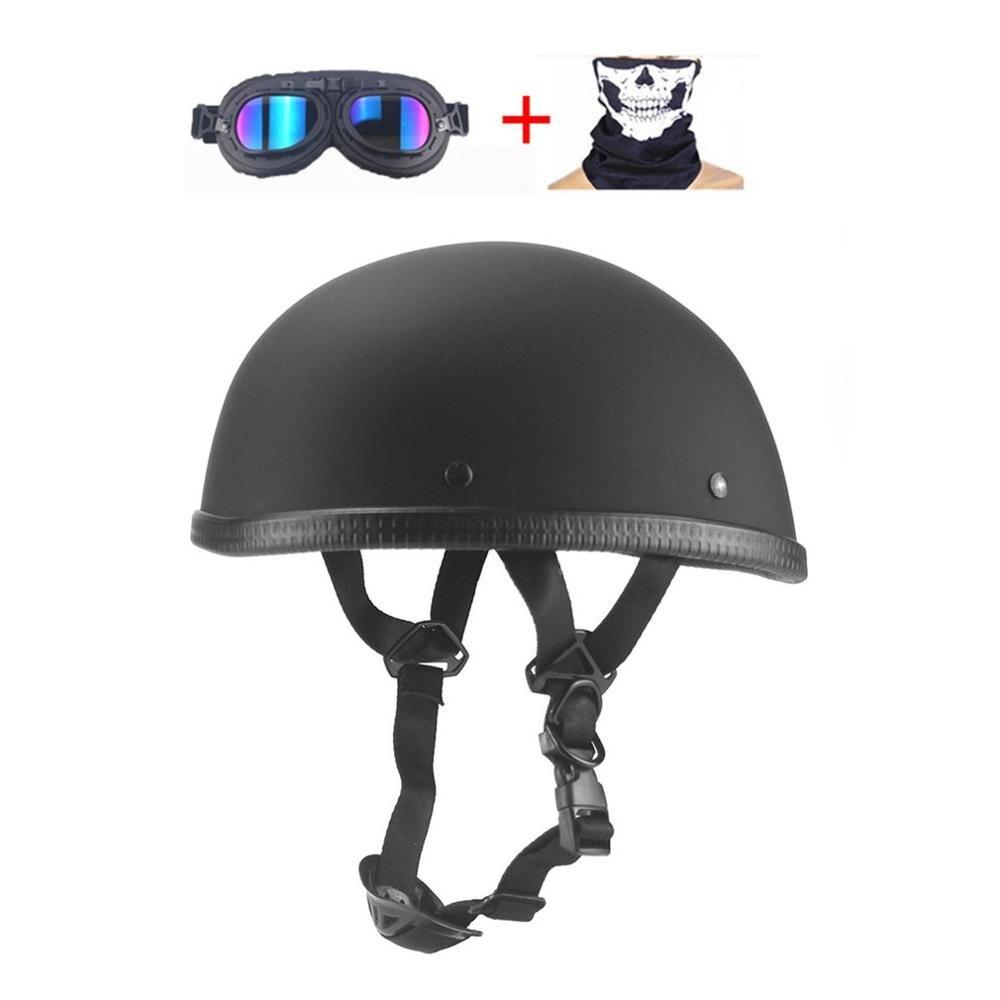 For Motorcycle German Half Face Helmet Chopper Cruiser Biker Scooter Half Helmet Skull Cap Hat Chopper Bobber Biker With Scarf