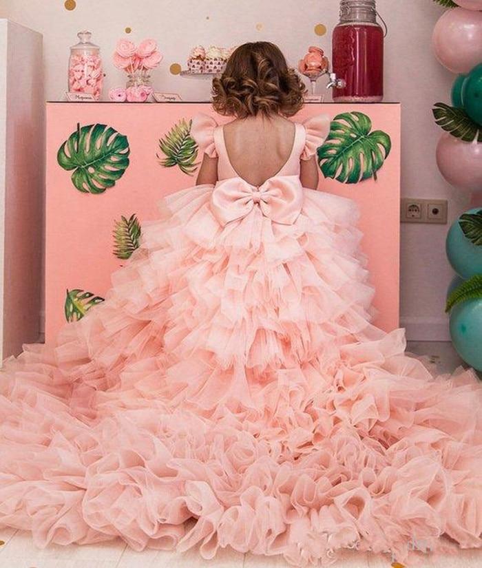 Elegant Pink Flower Girls Dresses Backless Sweep Train Pink Girls First Communion Dresses Pink Puffy Girls Birthday Party Dress enlarge