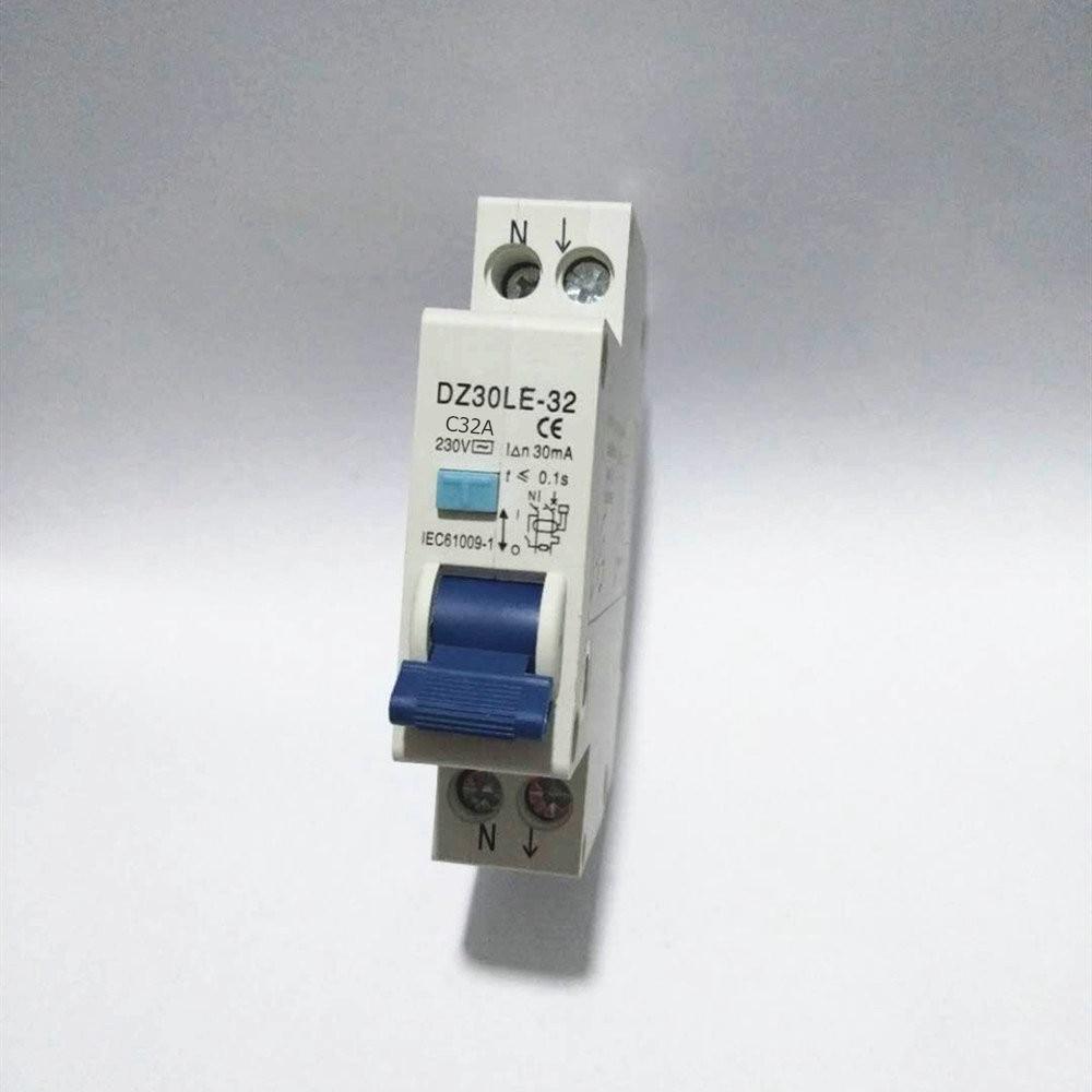 RCBO 1P + N 32A 16A 6KA Disyuntor de corriente Residual sobre la protección de fugas de corriente 18mm compacto RCD DZ47LE-T1