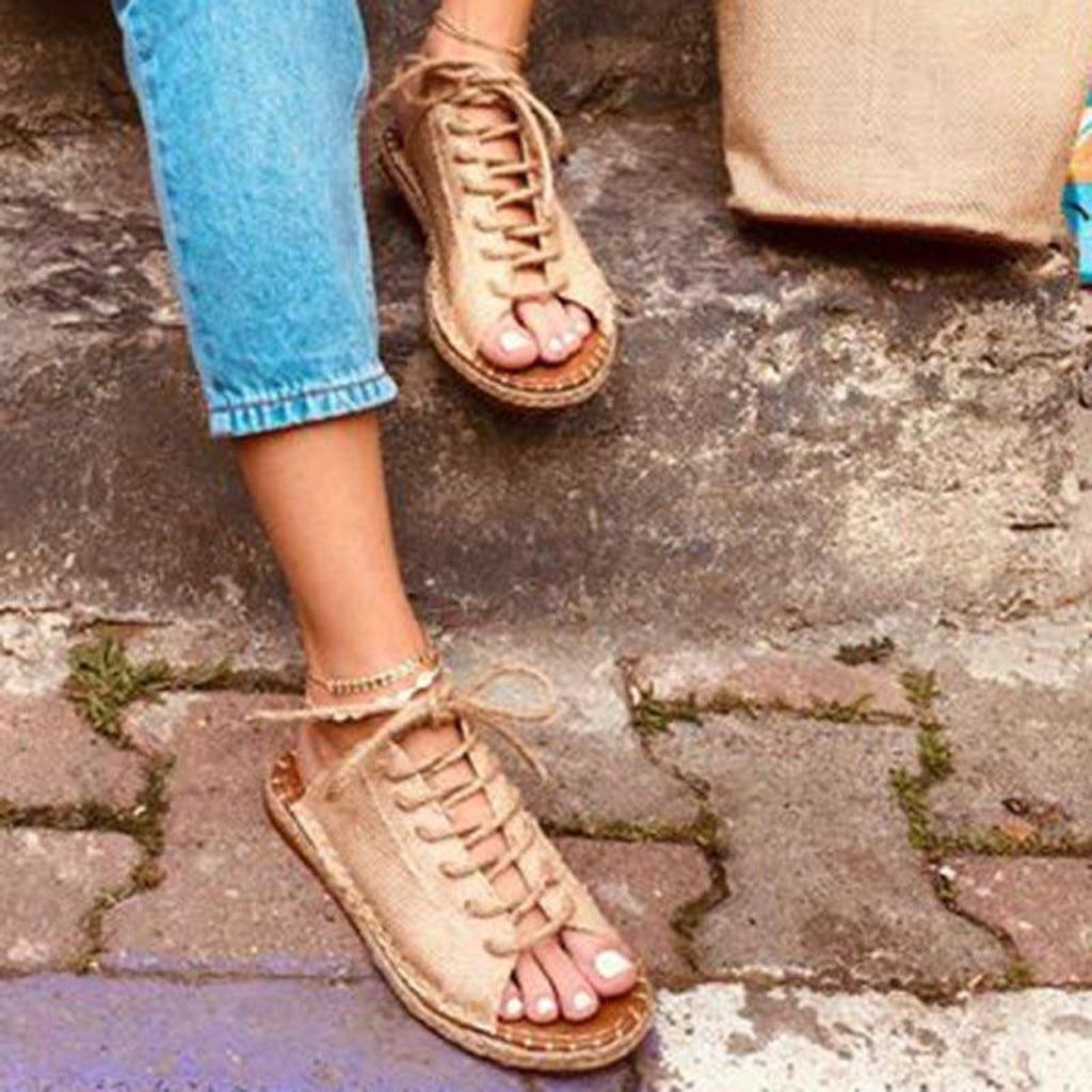 Verano Roma zapatos de mujer zapatos plano abierto sandalias Sandalia de gran tamaño sandalias de correa de tobillo de encaje zapatillas Sandalias Zapatos E2
