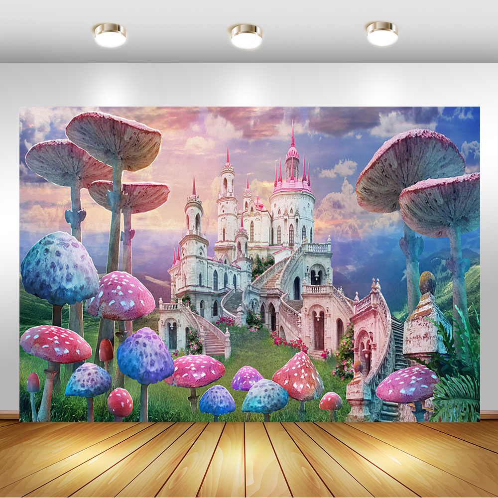 Pink Fairy Castle Wonderland Background Mushrooms Girl 1st First Birthday Portrait Photography Backdrops For Photo Studio
