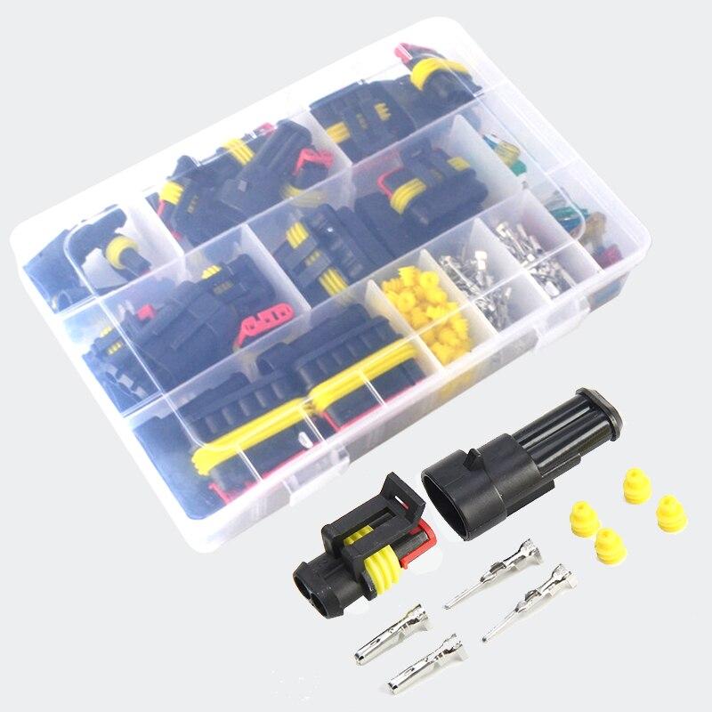 Unids/caja de 216, resistente al agua, arnés de cable de automoción 1-6P con fusible, equipo eléctrico, supersello de vías macho hembra