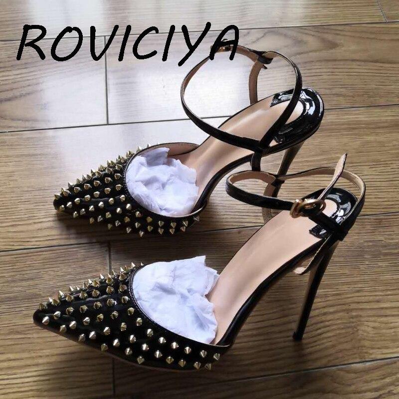 12 سنتيمتر الصنادل أحذية عالية الكعب الأسود برشام أحذية الحفلات الزفاف النساء مضخات أشار تو مثير LX004 ROVICIYA