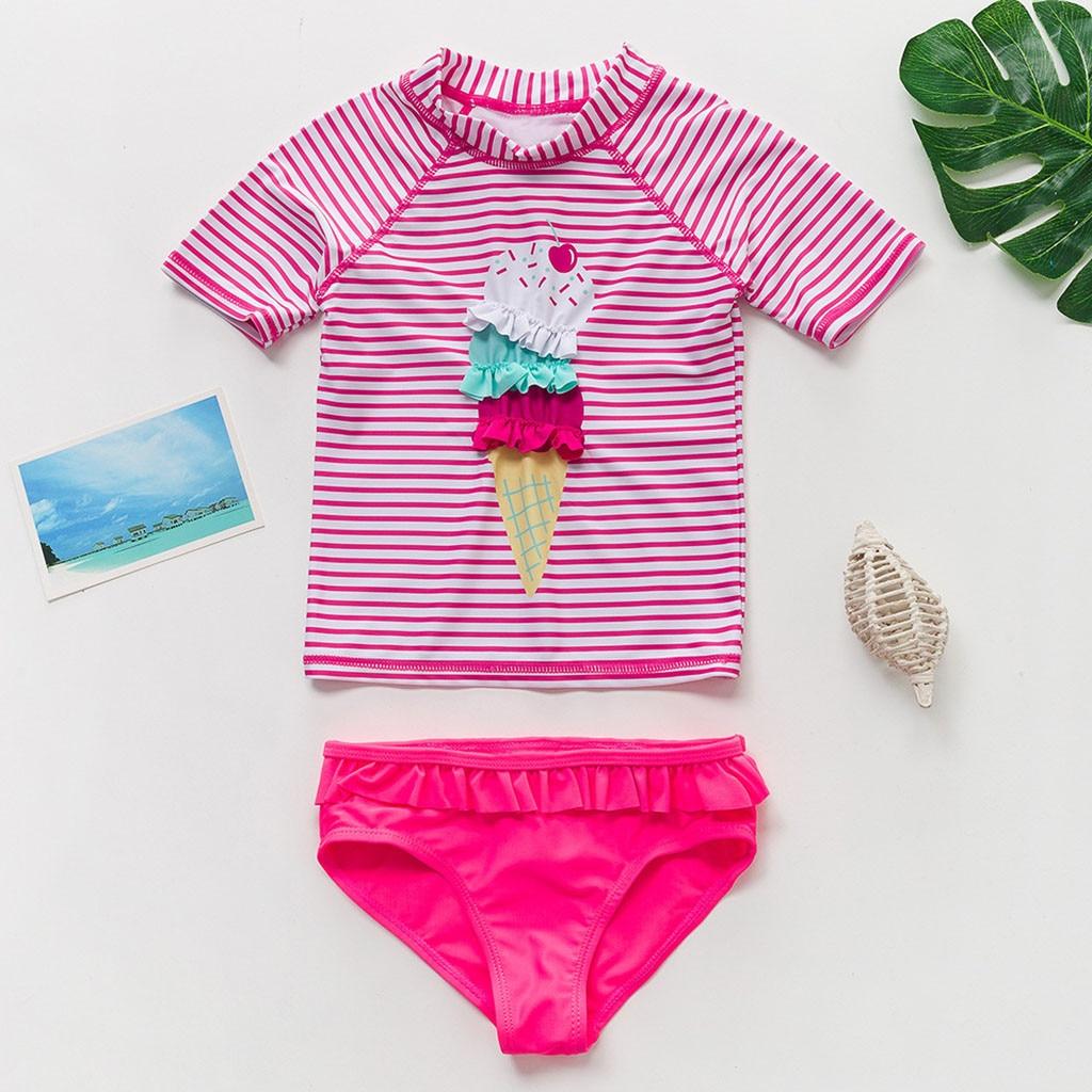 2020 Girls Beach Bikinis Kawaii Pink Swimsuit Two Piece summer bathing suits Swimming Biquini Sets Baby Kid Children Beachwear
