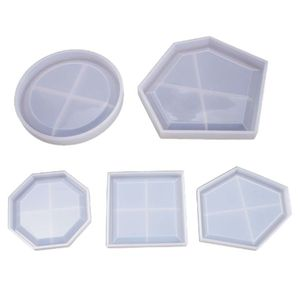 5 Pcs DIY Crafts Resin Crystal Epoxy Mold Coaster Pendant Casting Silicone Mould