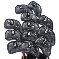 new champkey black silver skull golf iron head cover pack of 12pcs premium polyurethane plus memory material club covers
