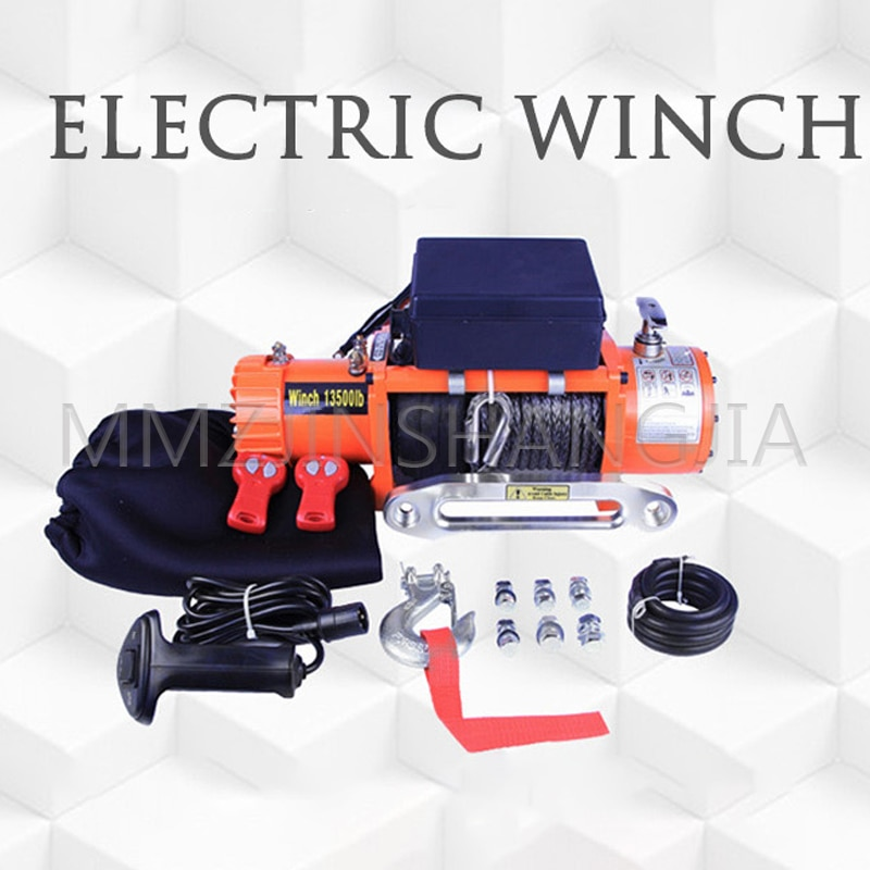 Portable Steel Wire Winch Large Pulling Force SUV Anchor Beach Stranded Car Outdoor Self-help Winch With Wireless Remote Control