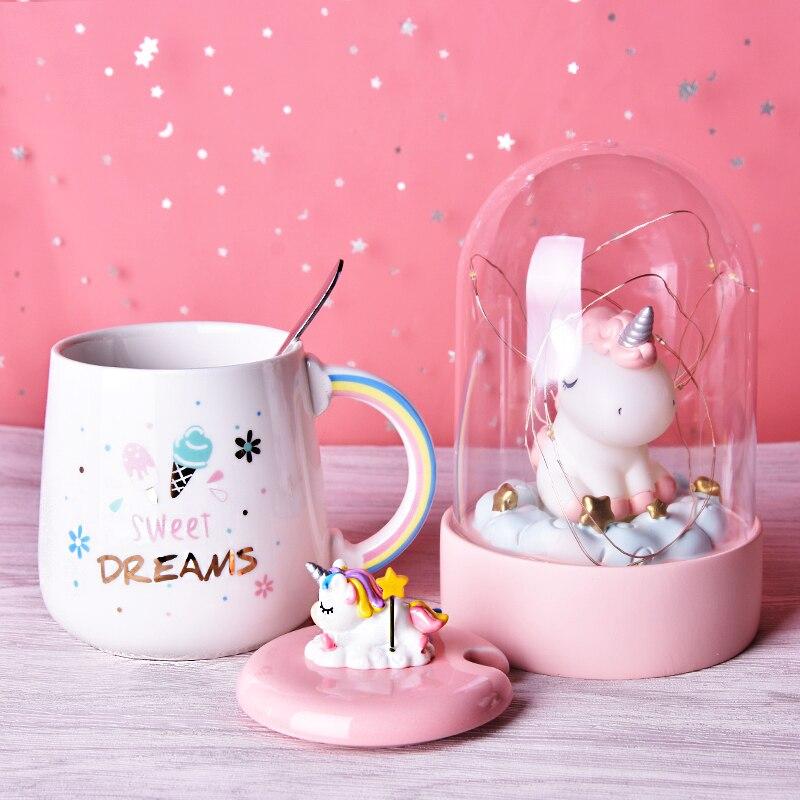 لطيف يونيكورن القهوة القدح مع غطاء ثلاثية الأبعاد و ملعقة شاي سيراميك كوب ماء هدية للنساء الفتيات الأبيض 450 مللي