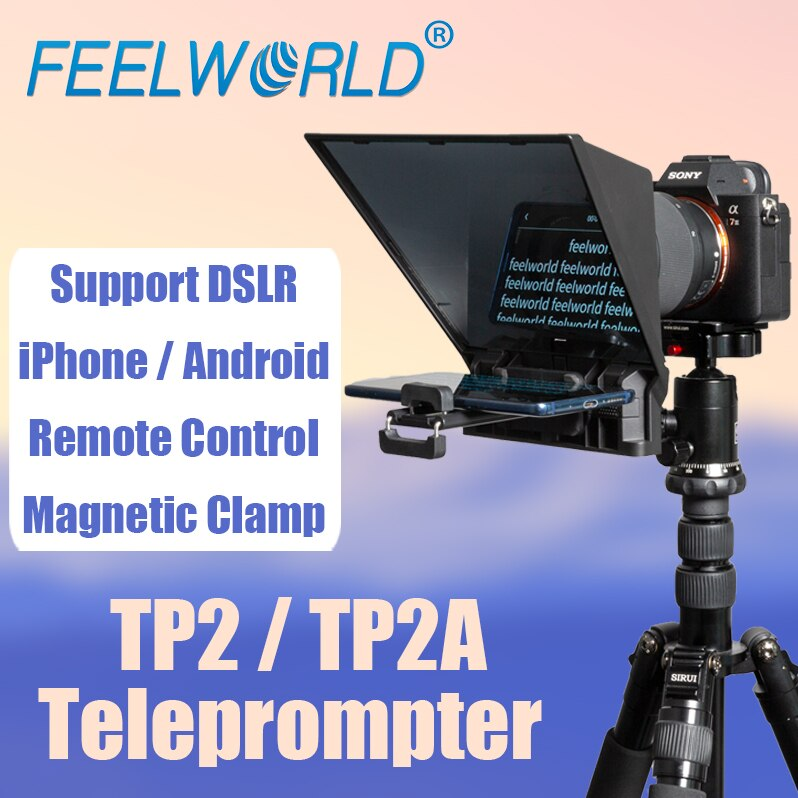 FEELWORLD Portable Remote Control Teleprompter DSLR Smartphone Video Recording Tablet Prompter TP2