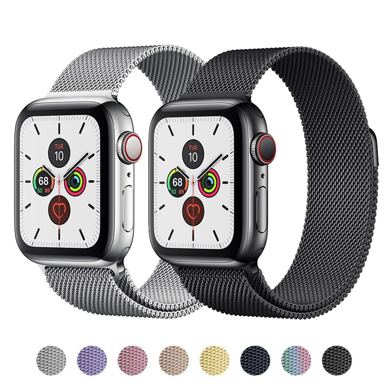 Strap For Apple watch band 44mm 40mm 38mm 42mm 44 mm Metal Magnetic Loop Stainless steel bracelet iW