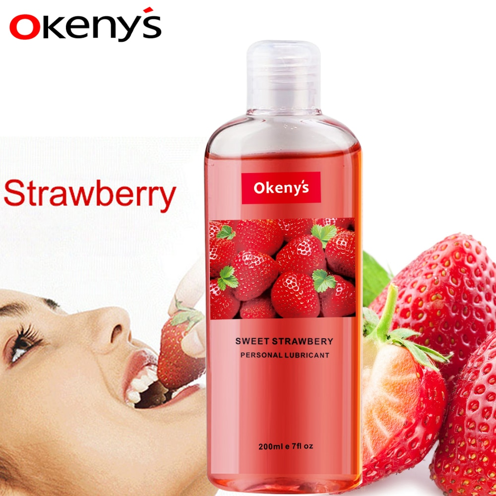 200ml Strawberry Flavor Edible Lubricant for Anal Vaginal Oral Sex Silicone Lubricating Oil Adult Se