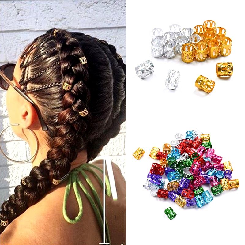 100 Pcs/bag Hair Dread Braids Gold Silver Micro Lock Tube Beads Adjustable 8x9mm Cuffs Clips for Afr