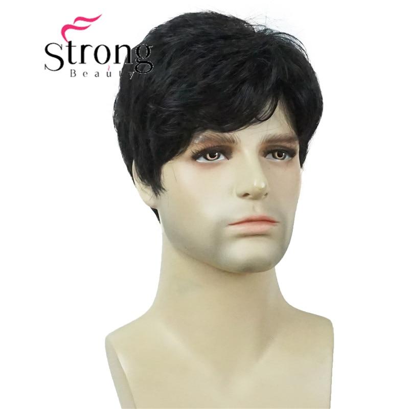 سترونج بيوتي-شعر مستعار صناعي للرجال ، شعر قصير أسود طبيعي ، كامل