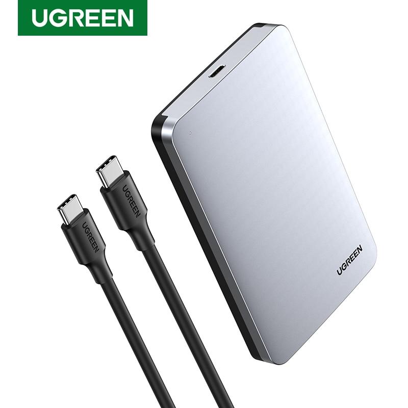 Ugreen HDD Case 2.5 6Gbps SATA إلى USB C 3.1 Gen 2 قرص صلب خارجي صندوق ألومنيوم حافظة HD ل Sata قرص صلب SSD قالب أقراص صلبة