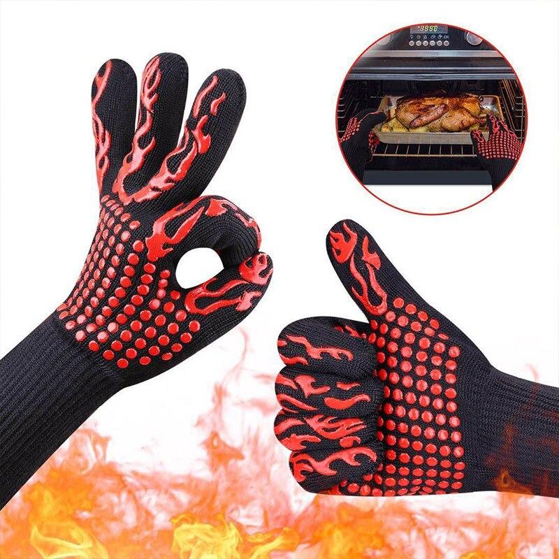 1 par de guantes resistentes al calor silicona cocción barbacoa guantes antideslizante fuego parrilla aislamiento manoplas para horno o microondas