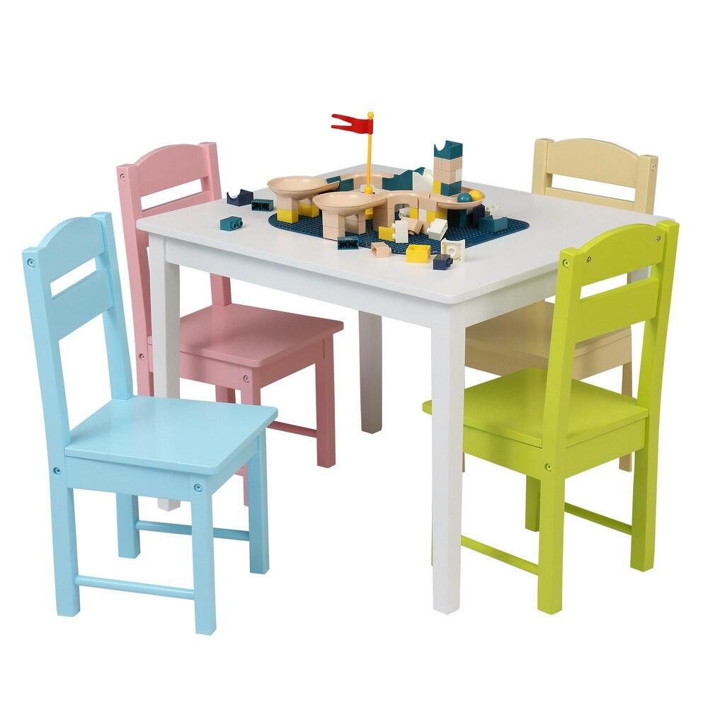 Детский деревянный стол и стул набор красочный (один стол с четырьмя стульями) набор мебели игрушка для детей игрушки