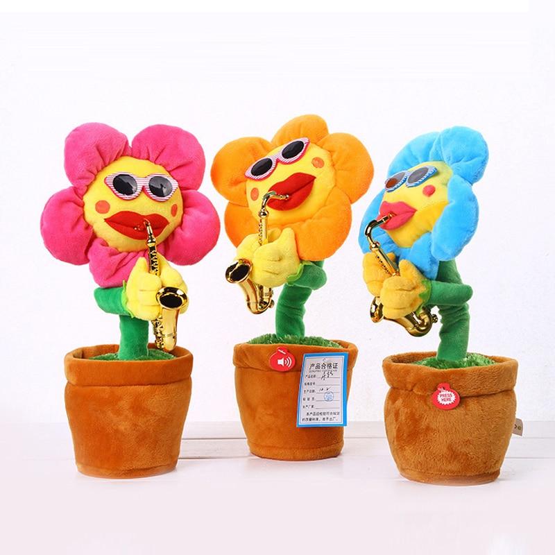 Электрические игрушки HowPlay, цветы для пения и танцев, Подсолнухи, игра на саксофон, забавные подарки, плюшевые музыкальные детские игрушки д...