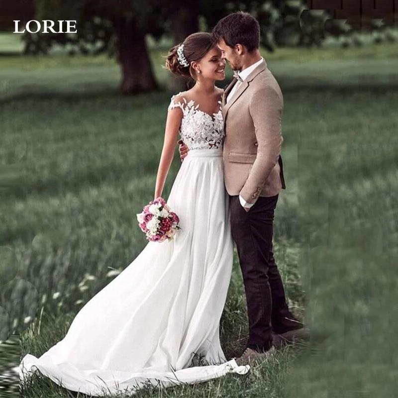 Promo LORIE Boho Wedding Dress Cap Sleeve Lace Beach Bridal Gowns A Line Chiffon Robe de mariage Wedding Party Dress H405