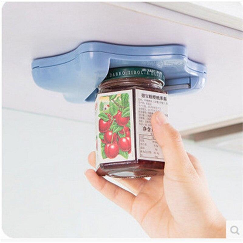 Abrelatas, abrelatas creativo debajo del armario, Abrebotellas autoadhesivo, removedor de tapa superior, ayuda a cansar o a mojar la mano de forma aleatoria