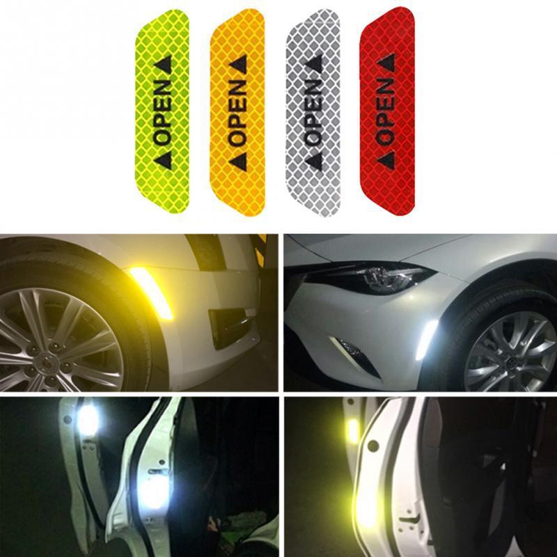 HiMISS 4 unids/set cinta reflectante de seguridad señal abierta señal de advertencia pegatinas de puerta de coche accesorio
