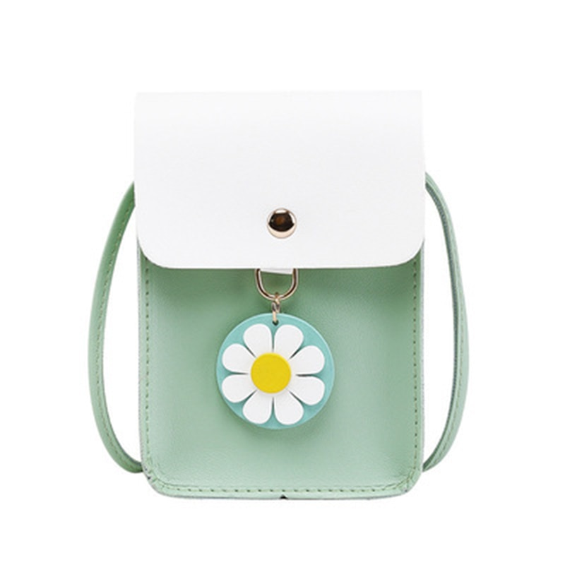 2021 Summer Daisy Pendant Crossbody Shoulder Bag Pu Leather Solid Colr Handbags for Women Brand Bags Mini Coin Purse Bolso Mujer