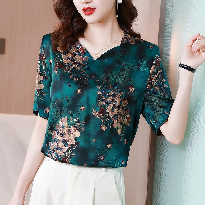 2021 Vintage Satin Blouse Woman Chic V-Neck Print Shirt Female Short Sleeve Green Floral Tops Lady Plus Size Women's Shirts