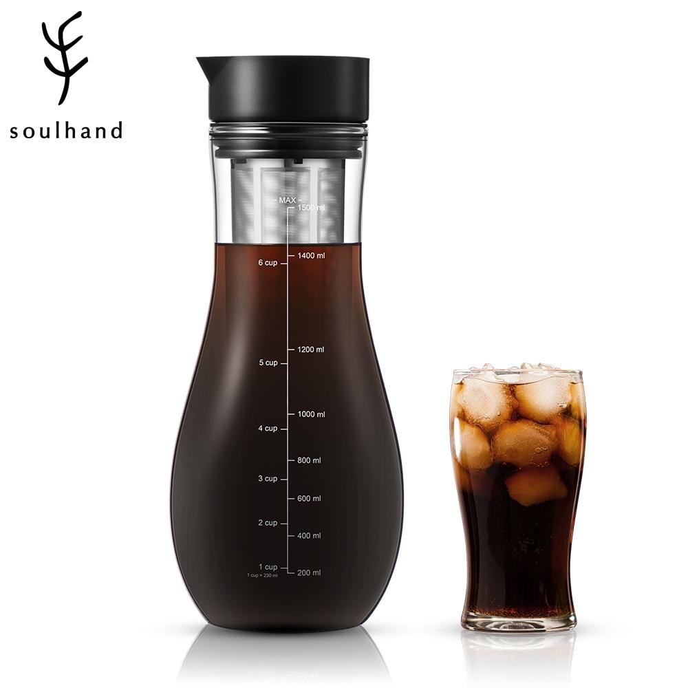 Фото - SOULHAND 1500 мл кофеварка для эспрессо холодное приготовление холодного кофе с двойным фильтром кофеварка для кофе и чая зеркальная Кофеварка с... кофеварка