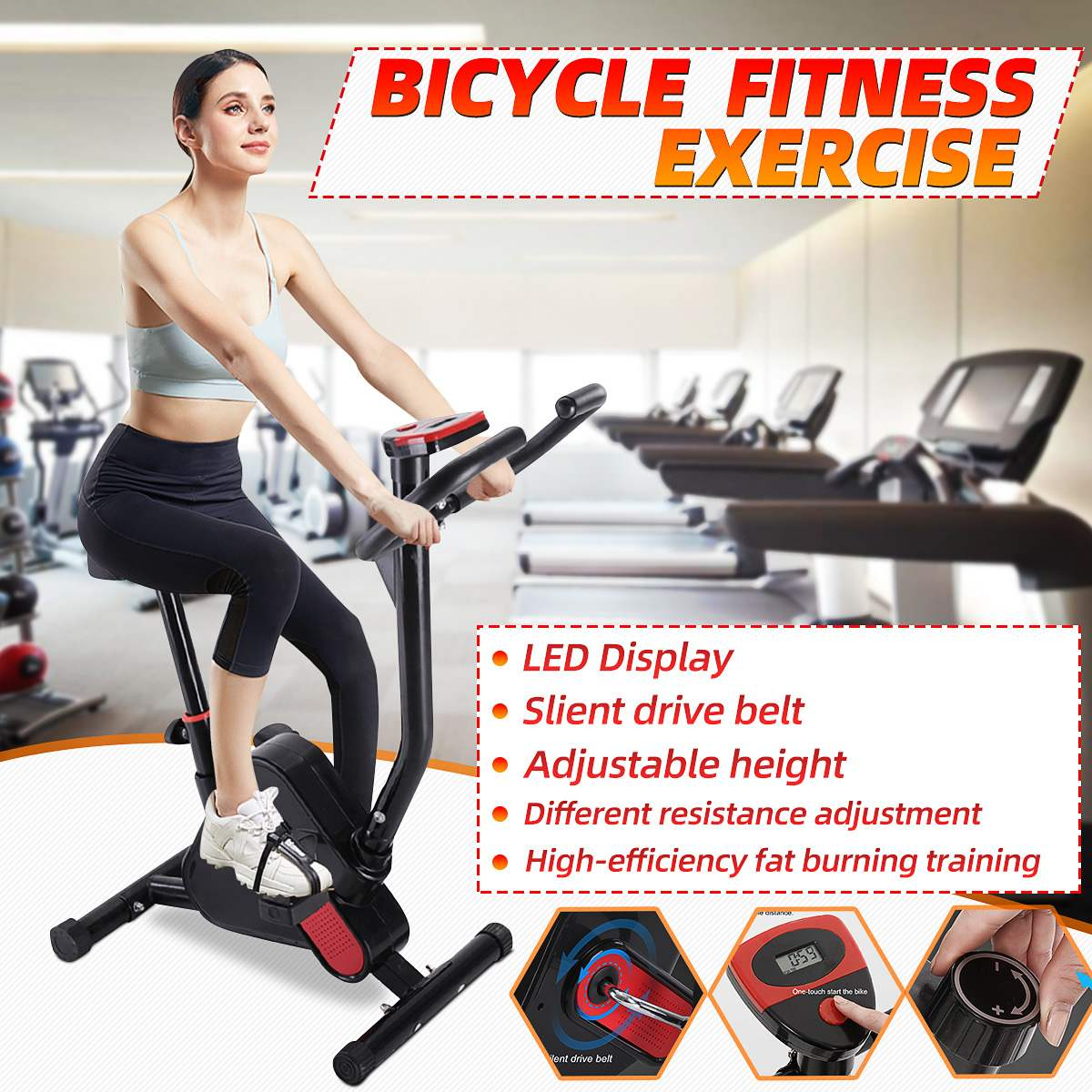Home Indoor Cycling Bike Trainer LED Display Bicycle Fitness Exercise Cardio Tools Stationary Fitness Equipment Body Building
