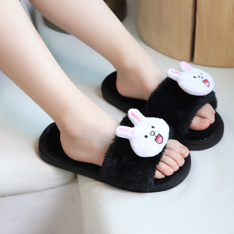 Children Fur Indoor Slippers Shoes Kids Winter Girls Cartoon Rabbit Home Slippers Baby Non-Slip Cartoon Cute Plush Warm Shoes