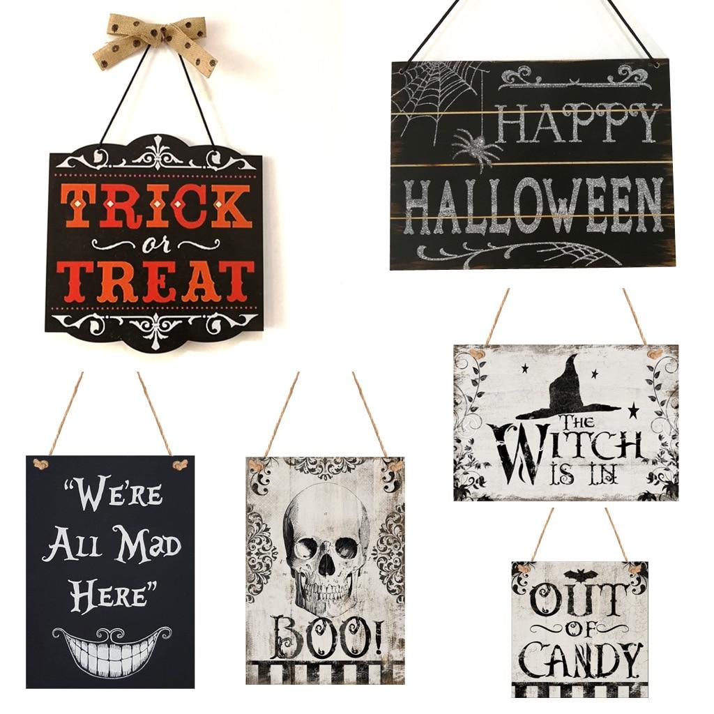 Gorro de bruja Halloween calavera colgante de madera tablero decoración de fiesta en casa placas signos colgando Horror accesorios puerta colgantes adornos de pared