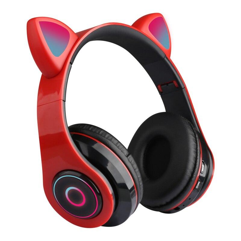 Fones de Ouvido Fone de Ouvido sem Fio com Microfone para Presente da Menina Bluetooth Luminosa Gato Estéreo Música Capacete Fone 5.0 Led