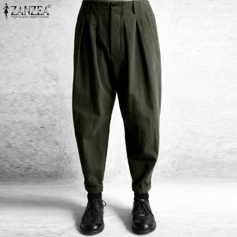 ZANZEA Spring High Waist Solid Long Trousers Vintage Women Harem Pants Cotton Linen Pantalon Female Baggy Palazzo Turnip Pants 7