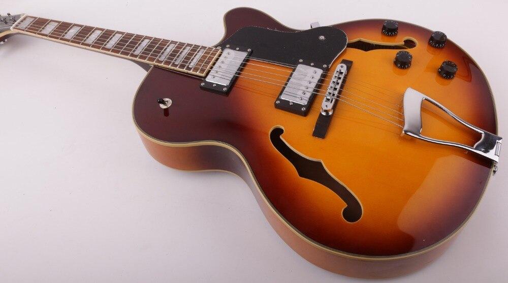 Good quality jazz hollow body f hole thin body single cutaway electric guitar free shipping enlarge