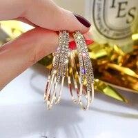 2021 trend multi layer exaggerated full diamond geometric circle c shaped earrings jewelry gift