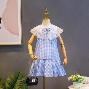 Pretty Girl Summer Dress Lace Collar Princess Dress Thanksgiving Blue Plaid Dresses Sleeveless Casual Cotton Dress 3-9Y