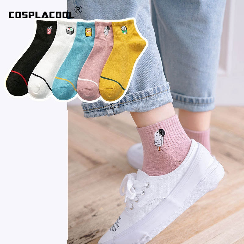 Medias divertidas creativas Harajuku para mujer, calcetines Kawaii bordados para Sushi, helados, bebidas, diseño Skarpetki, novedad japonesa Sokken