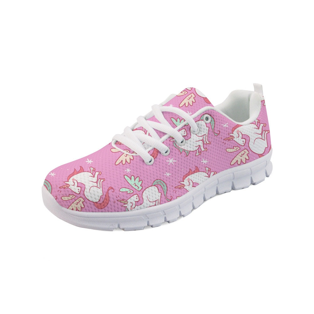 WHEREISART dibujos animados dibujo de unicornio mujeres zapatos planos señoras moda cordones Zapatillas Zapatos para niñas lindo calzado transpirable