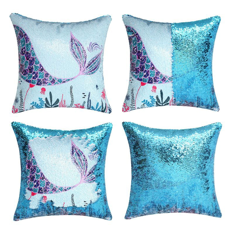 Sequins Mermaid Pillow Cases -Mermaid Decorative Cushion Covers Birthday Xmas Gift Throw Pillow Covers for Sofa Chair Bed Car 2019 christmas throw pillow covers santa clause 0utdoor pillow decorations for home sofa bed pillowcase xmas party kids gift