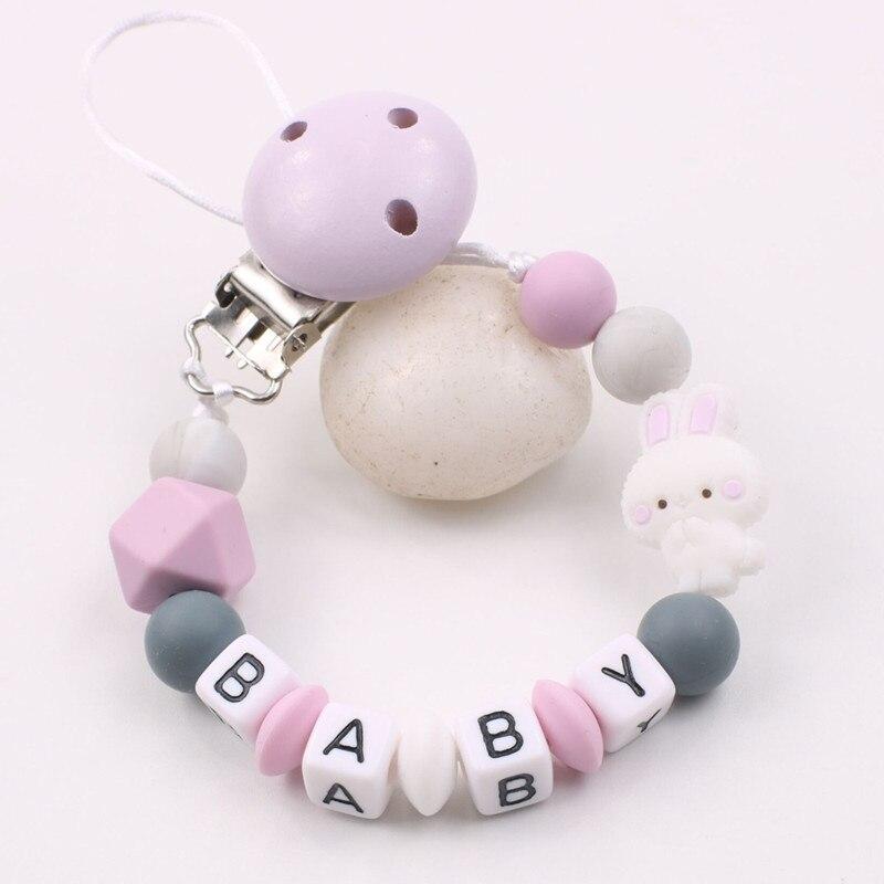 Детская цепочка-зажим для соски, силиконовые буквы, Детские бусины-зажимы для соски, игрушки для прорезывания зубов, соска-подвеска