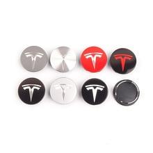 1set 56mm Car Styling Wheel Tire Rim Cover Center Hub Cap Wheel Nut Exterior Decor For Tesla Model 3