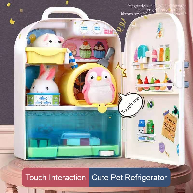 Electronic Pet Penguin Refrigerator Cute Children Toys Penguin Pets Penguin Nurturing House Parent-Child Game Gift for Baby Girl