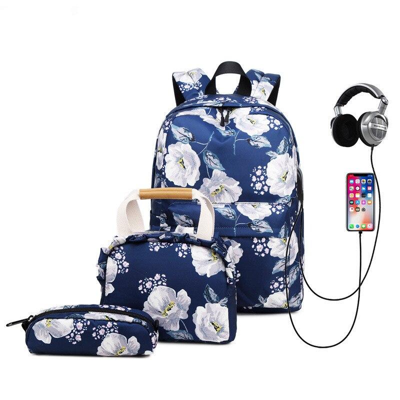 Nueva mochila de tres piezas de carga USB para mujer, mochila Simple de gran capacidad para portátil, mochila de viaje para mujer, mochila para estudiante