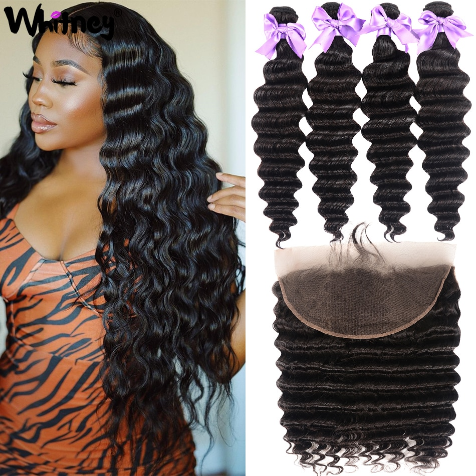 Mongolian Hair Loose Deep Wave Bundles With Frontal 100% Remy Human Hair 3/4 Bundles With Closure 4X4 Lace Closure With Bundles
