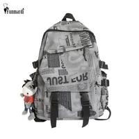 funmardi trendy print letter women backpack waterproof nylon school bags for teenage laptop backpacks men travel bags wlhb2454