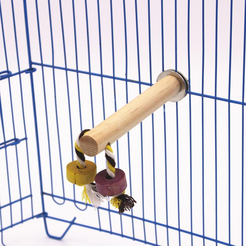 Columpio de madera Natural para loros, percha para pájaros, columpios colgantes, jaula con juguetes con cuerda de algodón, suministros para pájaros