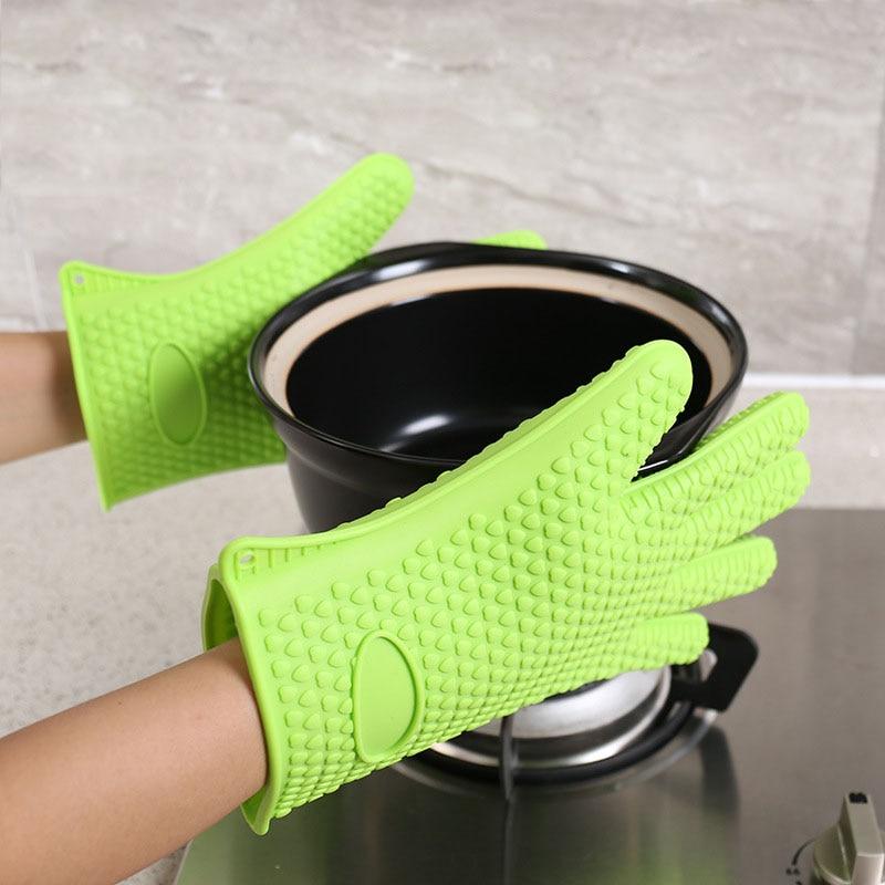 2pcs  Kitchen Silicone Heat Resistant Gloves Kitchen Accessories Cooking Baking BBQ Oven Gloves