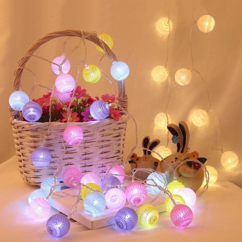 Сказочные хлопковые шары 4 см, гирлянды 1,5 м, 3 м, 4,5 м, 10 м, светодиодные гирлянды, рождественские фонари, наружные садовые Свадебные украшения ...